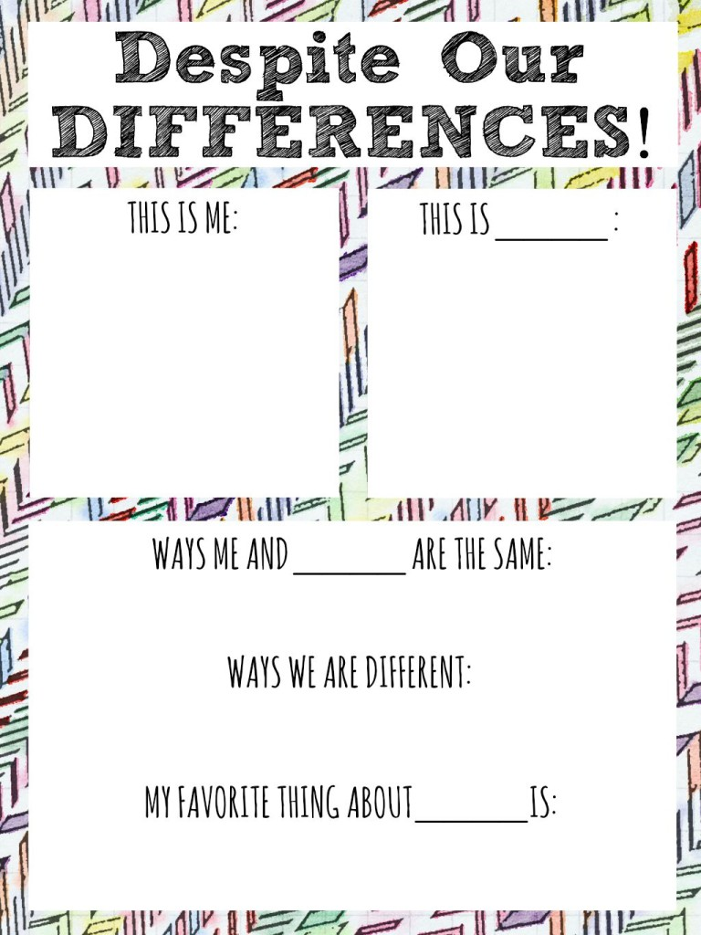 despite our differences diversity worksheet for kids
